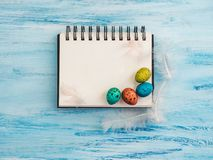 Free Multicolored, Bright Easter Eggs And Sketchbook Page Stock Photo - 141026120