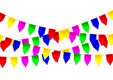 Multicolored bright flags garlands on white background Stock Images