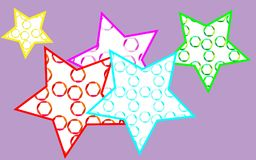 5 multicolored, bright, motley, beautiful stars painted. In a pouring from multi-colored, abstract camera diaphragms on a purple background. Vector illustration Stock Photos