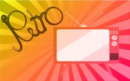 Multicolored bright mottled old retro vintage TV with kinescope and retro inscription on gradient background. Vector illustration Royalty Free Stock Photo