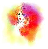 Multicolored bright paints abstract  portrait of the beautiful woman. Multicolored  portrait of the beautiful woman . Illustration . Digital painting Stock Photos