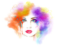 Multicolored bright paints abstract  portrait beautiful woman Stock Photography