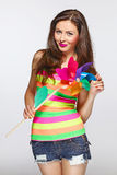 Multicolored bright summer girl. Stock Images
