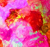Multicolored bright watercolor. Pink, red and crimson spots of watercolor. Stock Photos