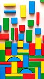 Multicolored building bricks stock images