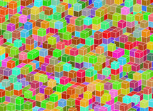 Multicolored building structure from cubes. Abstract architectur Royalty Free Stock Image