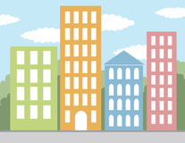Multicolored buildings  Stock Images