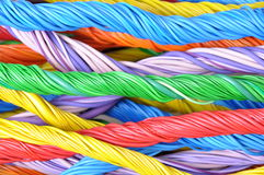 Multicolored bundles of computer cables Royalty Free Stock Images