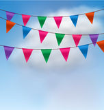 Multicolored Buntings Flags Garlands Stock Photo