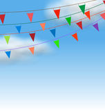 Multicolored Buntings Flags Garlands Stock Photography
