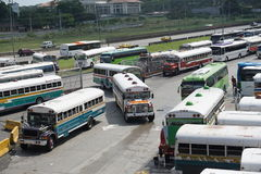 Multicolored buses. Wait in a parking lot Stock Photo