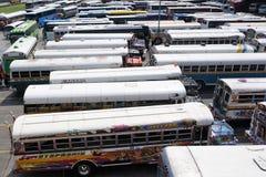 Multicolored bussen royalty-vrije stock foto's