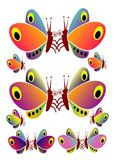 Multicolored butterflies stock image