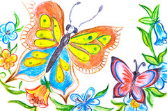 Multicolored butterflies Stock Images
