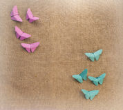 Multicolored butterflies of paper Stock Images