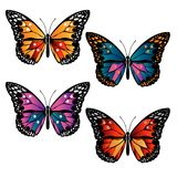 Multicolored butterflies set Royalty Free Stock Image