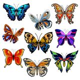 Multicolored butterflies set Stock Photo