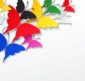 Multicolored butterflies on a white background Royalty Free Stock Photos