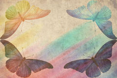 Multicolored butterfly retro background Royalty Free Stock Photo