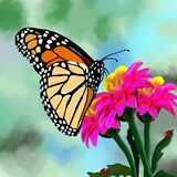 A multicolored butterfly sits on a flower. stock illustration