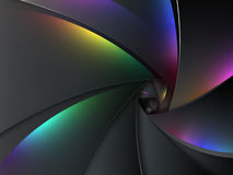 Multicolored camera lens background. Multicolored abstract background in the shape of camera lens stock illustration