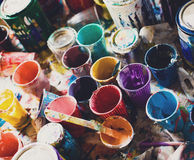 Multicolored cans with paint, arts background Stock Photos