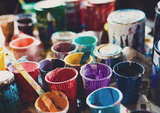Multicolored cans with paint, arts background Stock Image