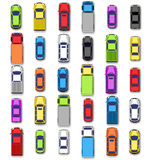 Multicolored car collection with shadow  on white Royalty Free Stock Image