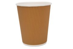 Multicolored cardboard cups for hot drinks Royalty Free Stock Photos