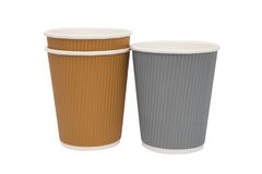 Multicolored cardboard cups for hot drinks Stock Images
