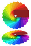 Multicolored cards by a fan - the colors of the rainbow. Royalty Free Stock Images
