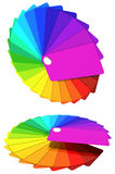 Multicolored cards by a fan - the colors of the rainbow. Royalty Free Stock Photo