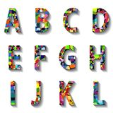 Multicolored Carnival Alphabet with Numbers Stock Photo