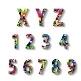 Multicolored Carnival Alphabet with Numbers Stock Image