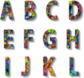 Multicolored Carnival Alphabet with Numbers. illustration. Stock Photos