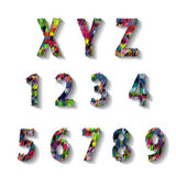 Multicolored Carnival Alphabet with Numbers. illustration. Stock Photo