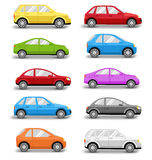 Multicolored Cars Collection with Shadow  on White Stock Photos