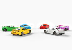 Multicolored cars facing each other in a circle on white background Royalty Free Stock Photo