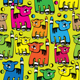 Multicolored cat of seamless pattern Royalty Free Stock Photography