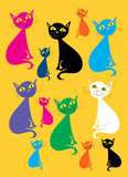 Multicolored cats. A cartoon illustration of 12 cats of different sizes and colors placed on a mustard yellow background Royalty Free Stock Photography
