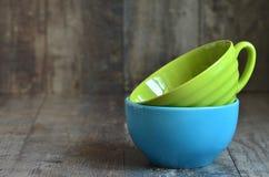 Multicolored ceramic bowl. Royalty Free Stock Photo