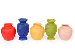 Multicolored ceramic vases. Royalty Free Stock Photos