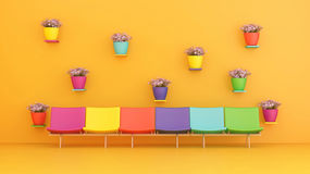 Multicolored chairs. Colorful chairs and colorful pots of flowers Royalty Free Stock Photography
