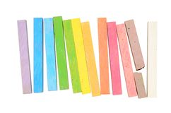 Multicolored chalk. Sticks arranged in a row like a rainbow Royalty Free Stock Image