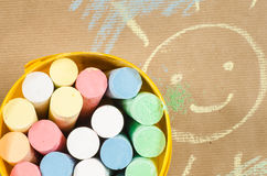 Multicolored chalk and sun drawing Stock Photos