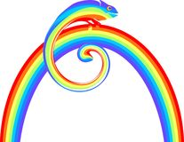 Multicolored chameleon on a rainbow. Multicolored chameleon sitting on a rainbow Royalty Free Stock Images