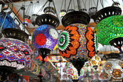 Multicolored chandeliers Royalty Free Stock Image