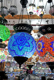 Multicolored chandeliers Stock Images
