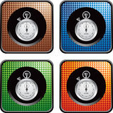 Multicolored checkered web buttons with stopwatch Stock Images