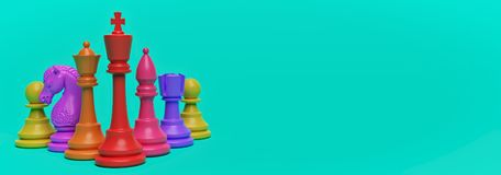 Multicolored chess pieces. 3d rendering. Multicolored chess pieces isolated on turquoise color background with copy space. horizontal banner. 3d rendering vector illustration